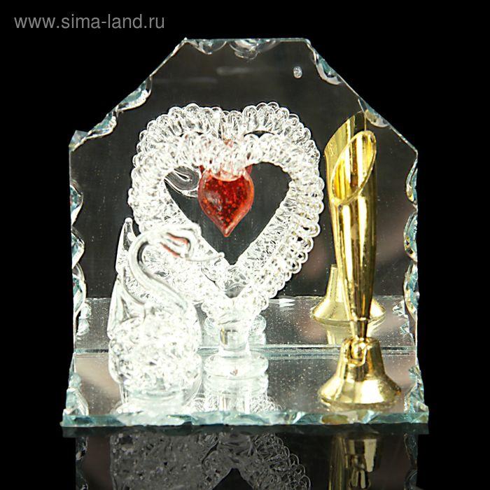 """Сувенир """"Лебедь и сердце"""" на зеркале с подставкой для ручек"""