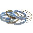 """Браслет-кольца 5 колец """"Цветы"""" голубые"""