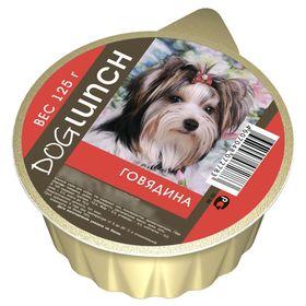 Консервы 'Дог ланч' для собак, крем-суфле с говядиной, ламист., 125 г. Ош