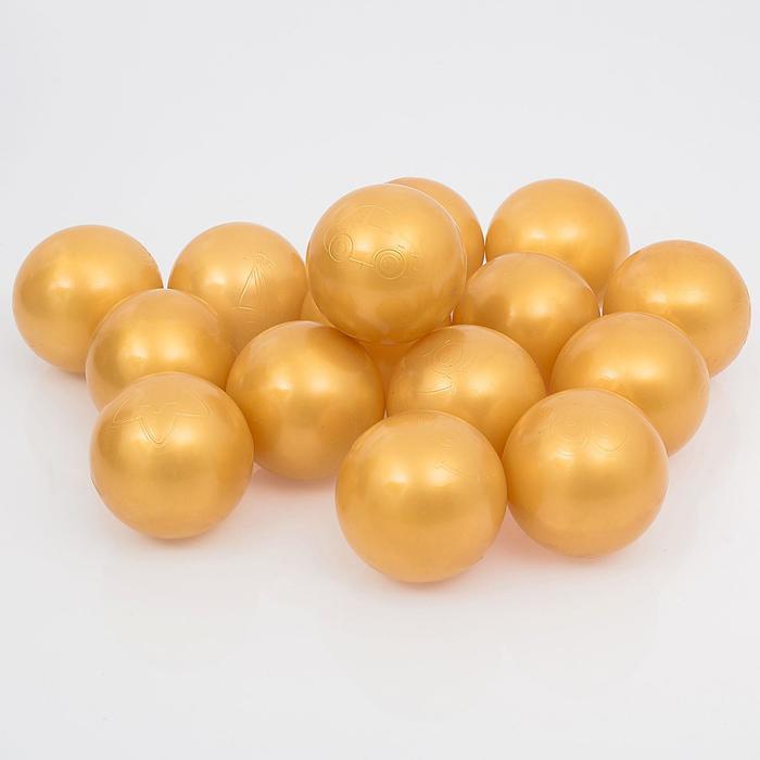Шарики для сухого бассейна с рисунком, диаметр шара 7,5 см, набор 150 штук, цвет золотистый