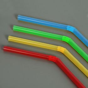 Набор трубочек для коктейля 5х210 мм, 50 шт, цветные с гофрой