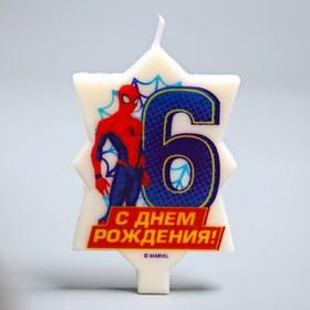 Свеча в торт 6 'С Днем Рождения', Человек-паук, 5 х 8 см Ош