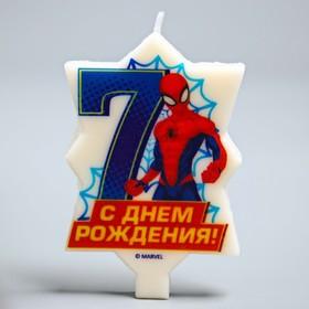 Свеча в торт 7 'С Днем Рождения', Человек-паук, 5.1 х 7.9 см Ош