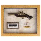 Пистолет в раме, структура дерево, пули, корабль, на карте мира, 49х39 см