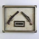 Gun 2in1 in the frame, a bullet, frame, metal, white background, 47х37.5 cm