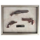 Набор 3в1 (2 пистолета+револьвер) Two barrel gun model в раме, пули, 47х37.5 см