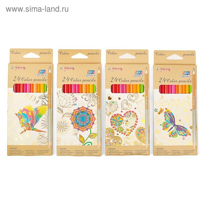 Карандаши 12 штук/ 24 цветов ДВУХЦВЕТНЫЕ в картонной коробке Yalong треугольные МИКС