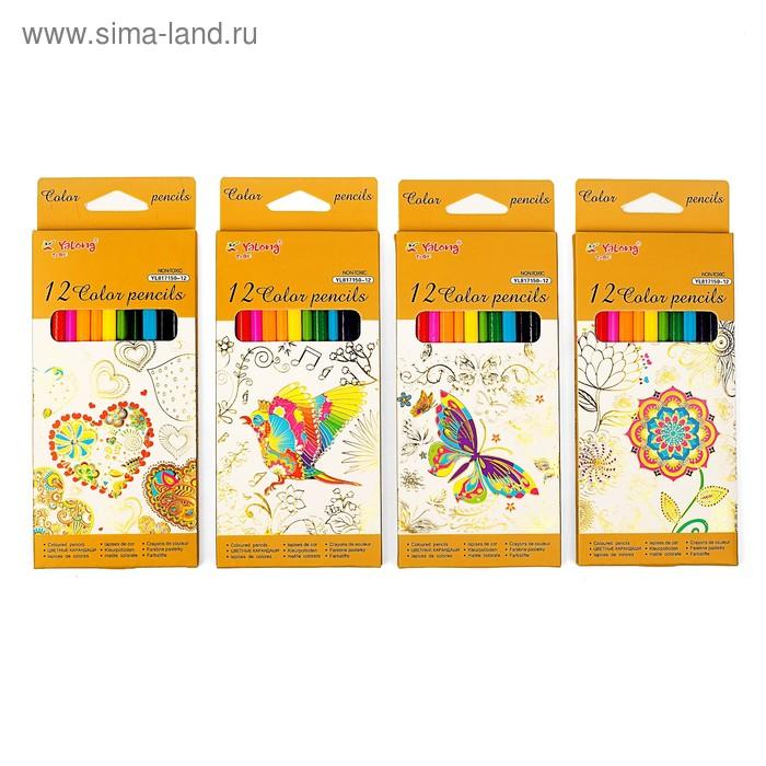 Карандаши 12 цветов в картонной коробке Yalong треугольные МИКС