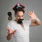 """Карнавальный костюм взрослый """"Черный ворон"""" ободок, компас, медальон, борода, усы"""