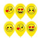 """Шар латексный 12"""" """"Смайлы, любовь"""", пастель, 2-сторонний, набор 12 шт., цвет жёлтый"""