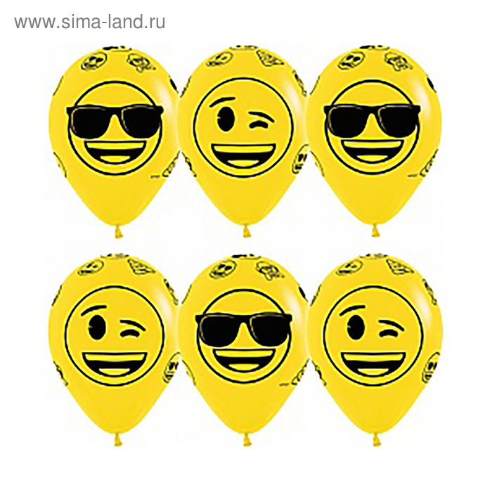 "Шар латексный 12"" "" Смайлы, крутые"", пастель, 5 ст, набор 12 шт, цвет желтый"