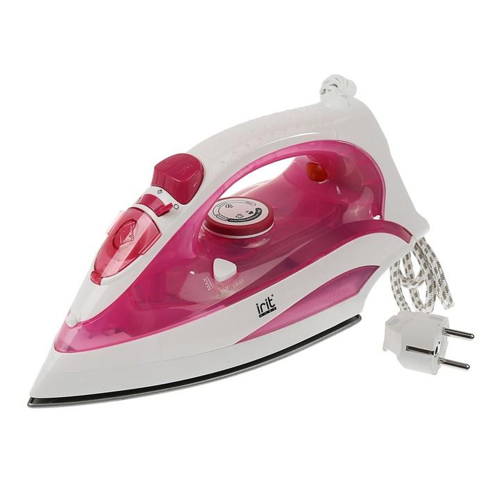 Утюг Irit IR-2230, 2000 Вт, тефлоновая подошва, бело-розовый