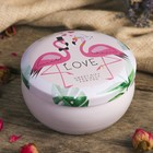 "Box metal round ""Wedding. Flamingo"" 4х8х8 cm"