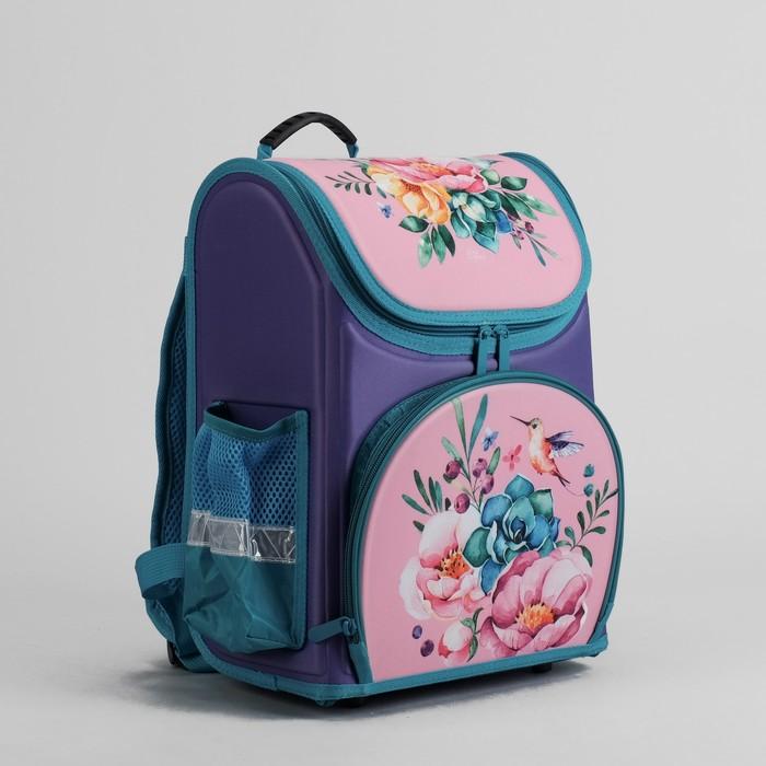 Ранец школьный каркасный с ортопедической спинкой 35*26*16 см 2 отделения 3 кармана «Цветы»