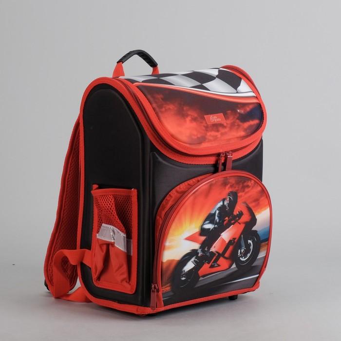 Ранец школьный каркасный с ортопедической спинкой 35*26*16 см 2 отделения 3 кармана «Самый крутой»
