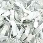 Клип-лента белая в нарезке, 5 см, загнутая (пакет 500 шт.)