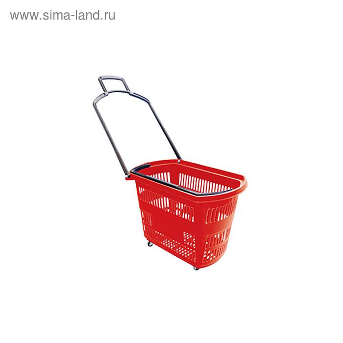 Корзинка на колесах, 32 л, пластиковая, цвет красный