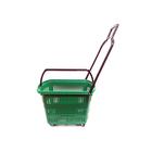 Корзинка на колесах, 32 л, пластиковая, цвет зелёный