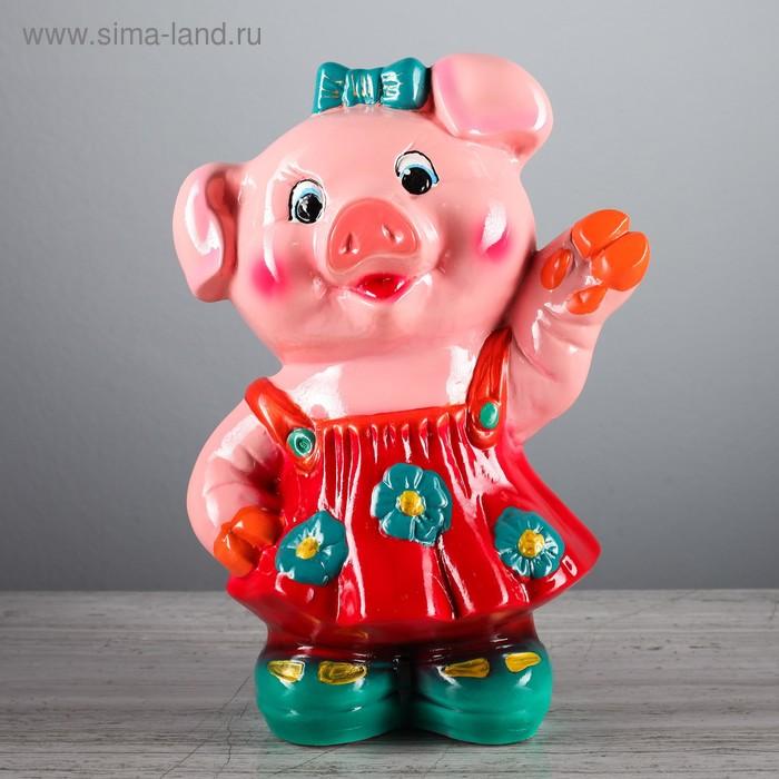 """Копилка """"Свинка в платье """", зелёные ботинки, глянец, символ года 2019"""