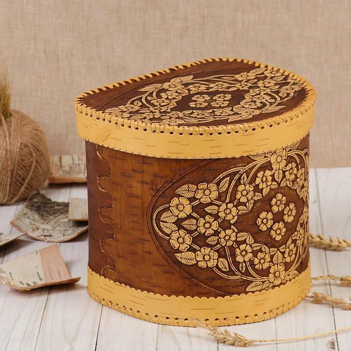 Короб «Цветочный ручеёк», шарнирный, 22×19,5×20 см, береста
