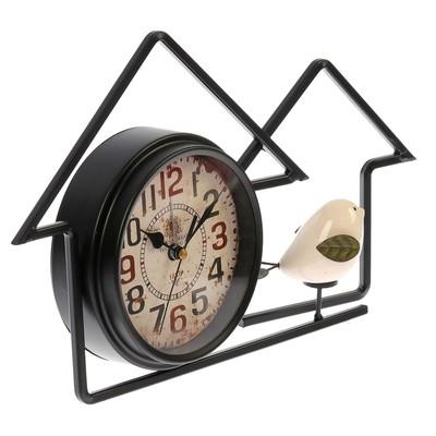"""Часы настольные """"Домик для птички"""", чёрные, 34х20х6 см"""