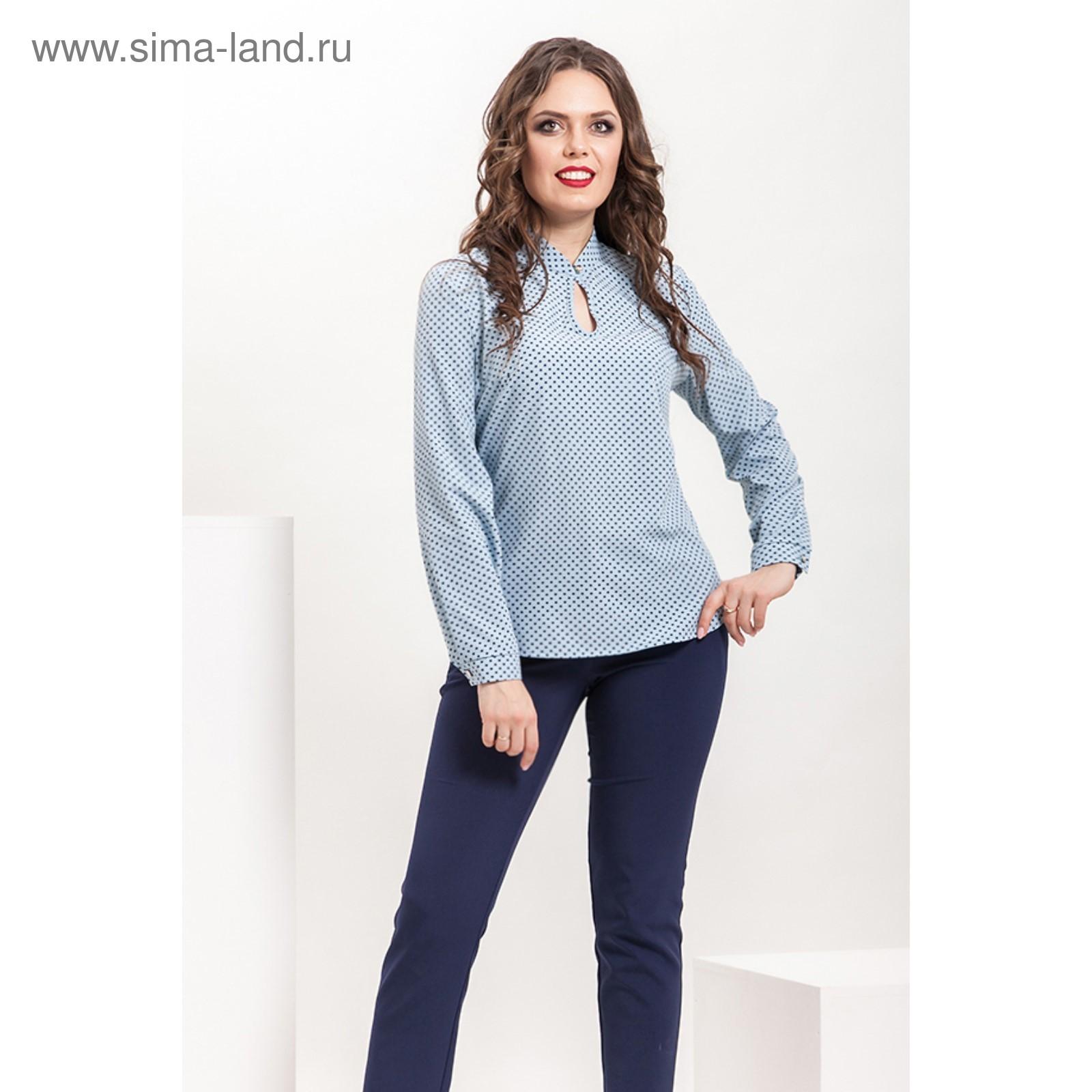 67114ab32c98 Блуза женская Б-158 4, размер 48, цвет голубой+синий (3687881 ...