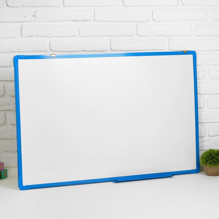 Доска двусторонняя, магнитно-маркерная, с полочкой, 90 × 60 см, синяя рама - фото 540734944