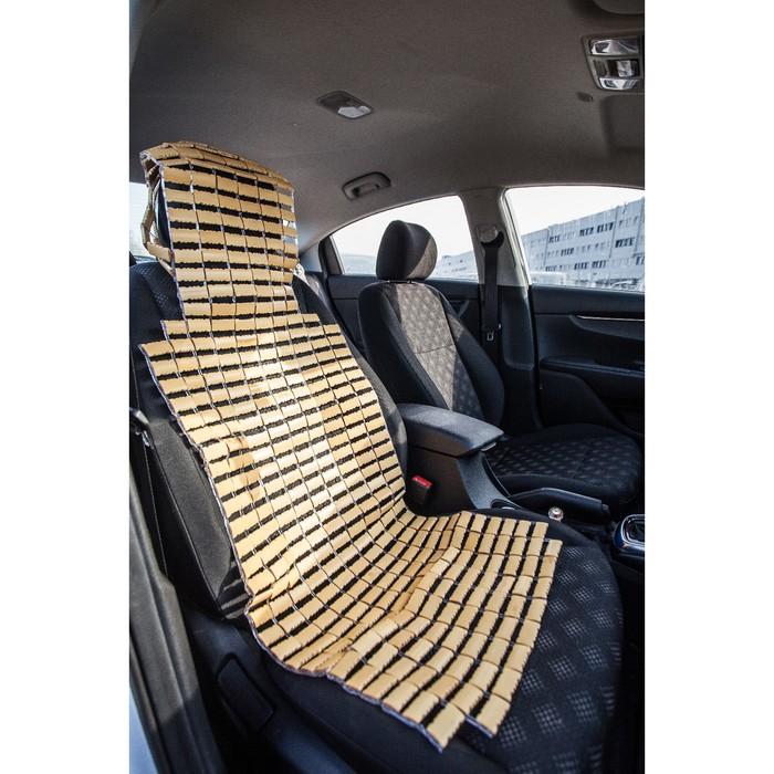 Накидка-массажер на сиденье из бамбука с капюшоном, 43х109 см, бежевый