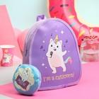 Рюкзак детский, отдел на молнии, с кошельком, цвет сиреневый