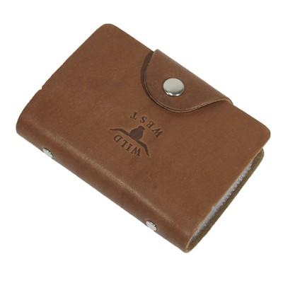 Визитница/Кредитница, кнопка, натуральная кожа, цвет коричневый