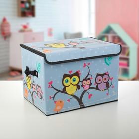 """Короб для хранения с крышкой 38×25×25 см """"Совы на дереве"""""""