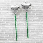 """Balloon foil 18"""" """"Heart"""" with ribbon, foil, set 2 PCs., individual packing, color silver"""