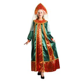 """Русский народный костюм """"Марья Искусница"""", платье, кокошник, р-р 48, рост 172 см, цвет малахит"""