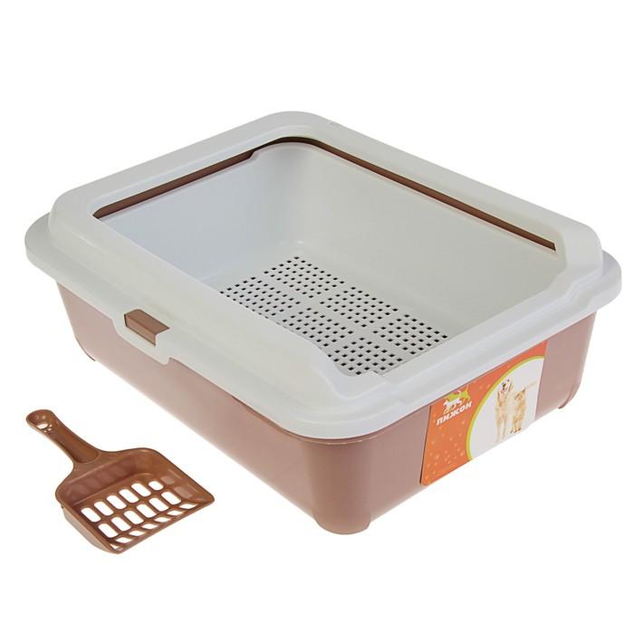 Туалет с бортом, пластиковой вставкой с сеткой и совком, 43 х 33 х 15 см, шоколад - фото 76932