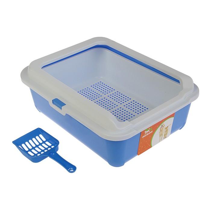 Туалет с бортом, пластиковой вставкой с сеткой и совком, 43 х 33 х 15 см, синий