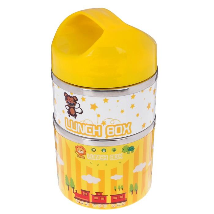 """Ланч-бокс детский """"В мире животных"""", 930 мл, набор 2в1, держит тепло 3 ч, жёлтый, 11х21 см"""