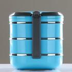 Ланч-бокс 2.1 л, овальный, 3 тарелки и подложка внутри, держит тепло 2 ч, микс, 19х18 см