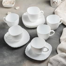 Сервиз чайный Lotusia, 12 предметов: 6 чашек 220 мл, 6 блюдец