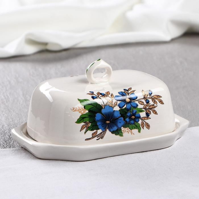 """Масленка """"Голубые цветы"""", белая, деколь микс - фото 603501"""