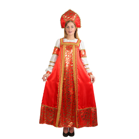 """Русский народный костюм """"Любавушка"""", платье, кокошник, атлас, р-р 44, рост 170 см"""