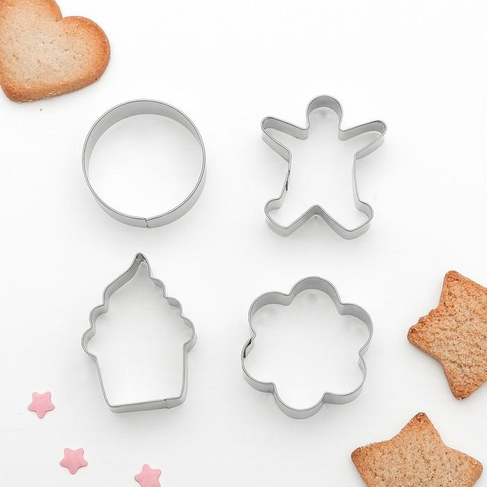 """Набор форм для вырезания печенья """"Капкейк, человечек, цветок, круг"""", 4 шт"""