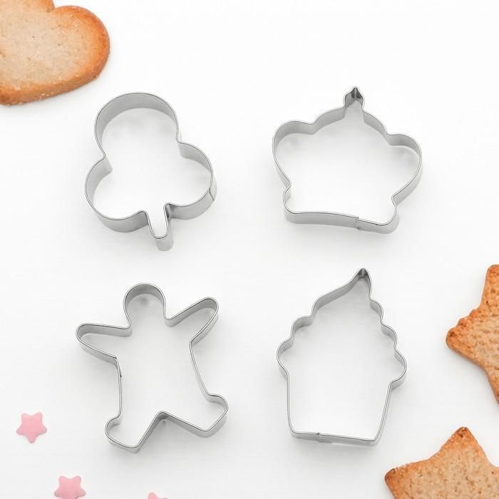 """Набор форм для вырезания печенья """"Капкейк, человечек, корона, листик"""", 4 шт"""