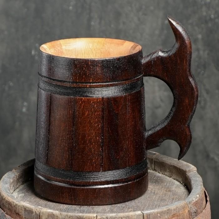 """Кружка пивная деревянная """"Мюнкер"""", темная, 0,8 л, 1 сорт"""