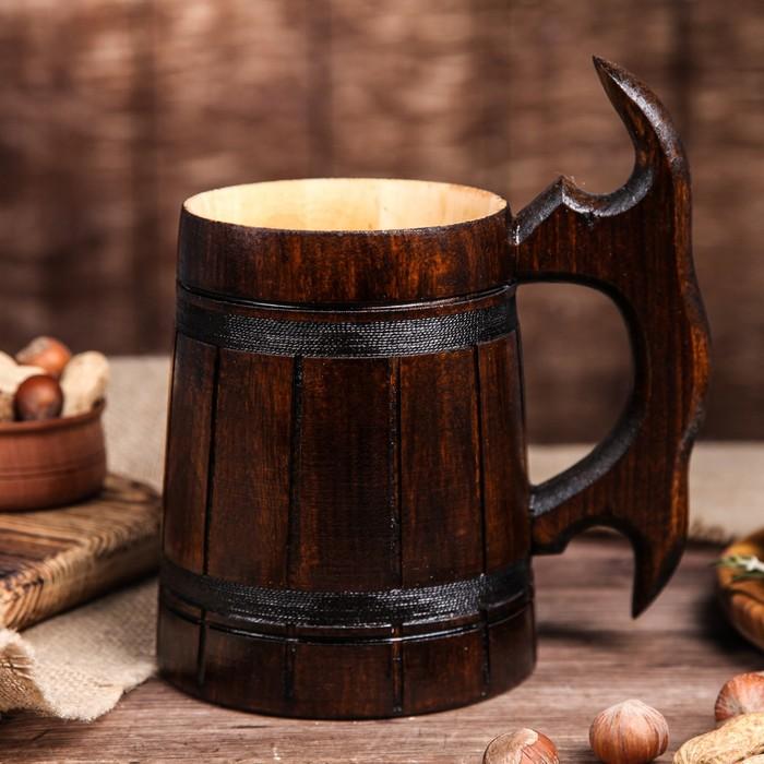 """Кружка пивная деревянная """"Мюнкер"""", темная, 0,5 л, 1 сорт"""