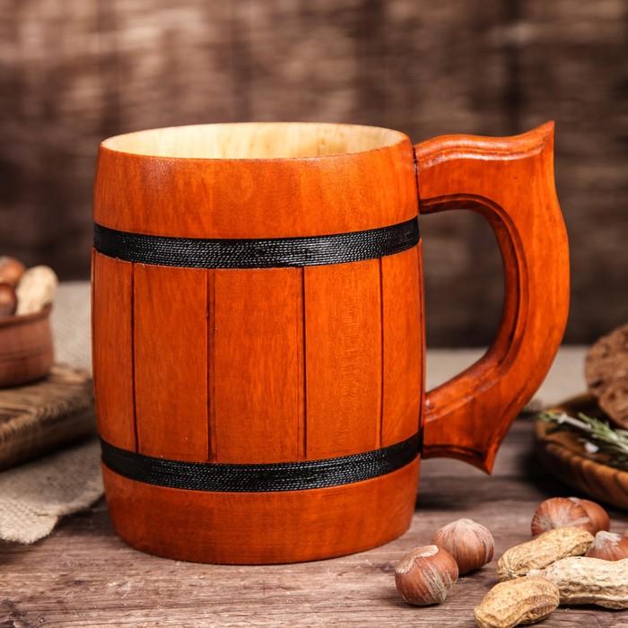 """Кружка пивная деревянная """"Паб"""", 0,5 л"""
