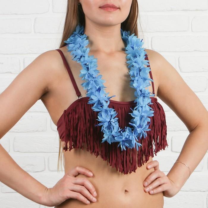 Гавайское ожерелье ''Цветы'', цвет синий   2799102