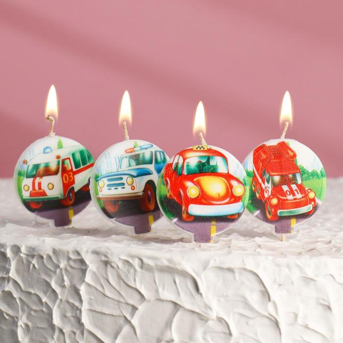 """Набор свечей в торт """"Машинки"""" 5шт - фото 35609070"""