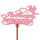 """Топпер """"Любовь повсюду"""" 10,2х6,2 см, розовый"""