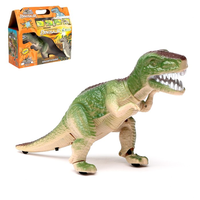 """Динозавр """"Рекс"""" работает от батареек, световые и звуковые эффекты. цвета МИКС"""