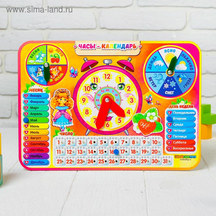 """Календарь обучающий """"Яркие часы"""", из дерева 094103"""